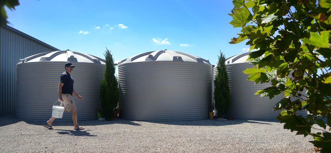 White plastic water tanks
