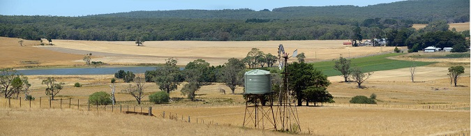 Rural panorama with poly water tank